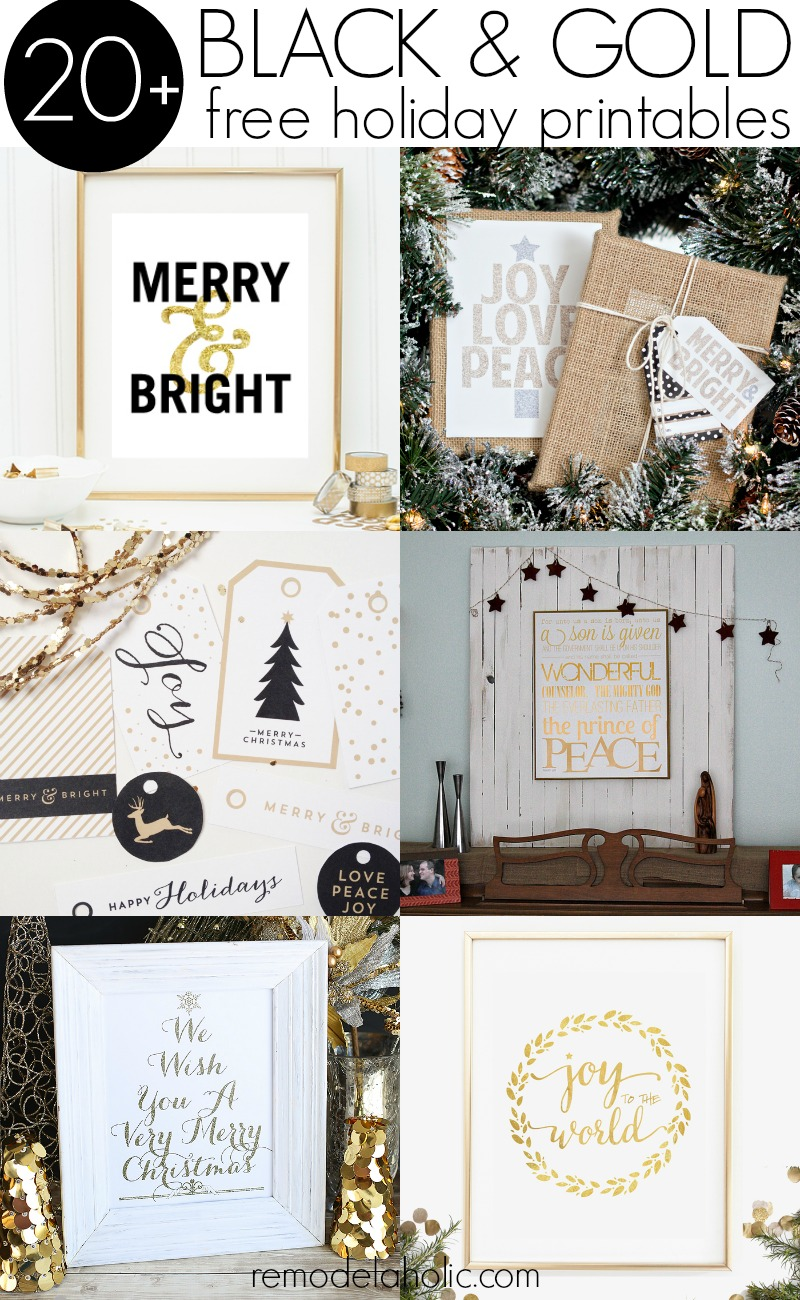 black and gold free holiday printables remodelaholic - Free Holiday Printables