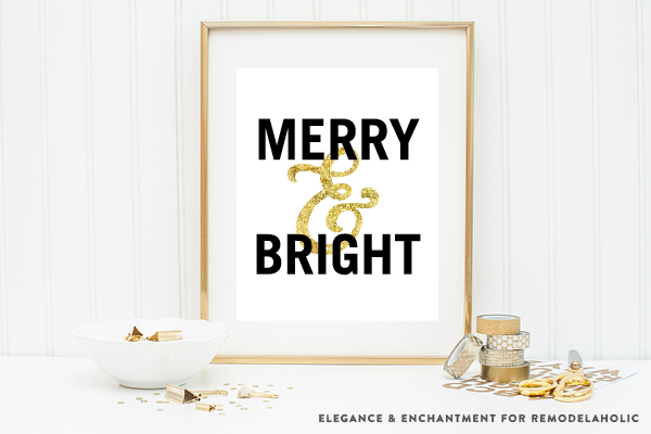 Merry & Bright | Black and Gold Christmas Art Printables