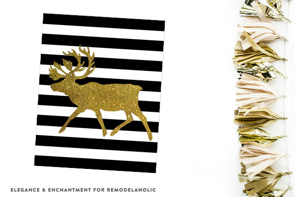Elk Crossing | Black and Gold Christmas Holiday Printables
