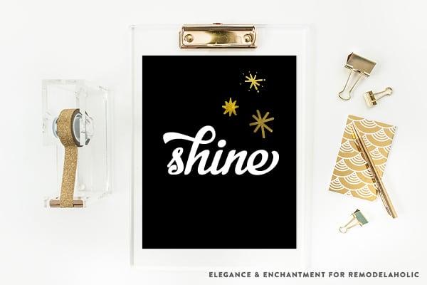 Shine | Black and Gold Christmas Holiday Inspirational Art Printables
