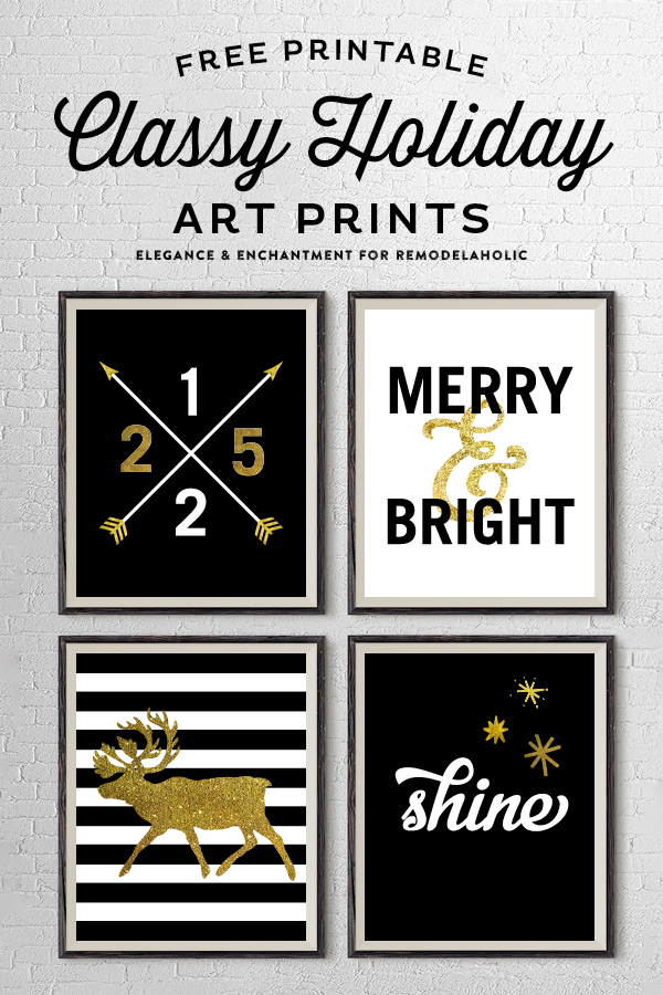 free printable classy holiday art prints in gold black and white these four prints