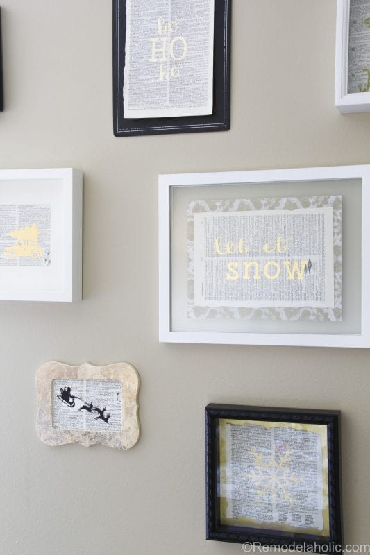 Black and gold gallery wall, using DIY gold prints (gold leaf, gold foil, gold paint, and gold glitter) and vintage dictionary pages. Full video tutorials.