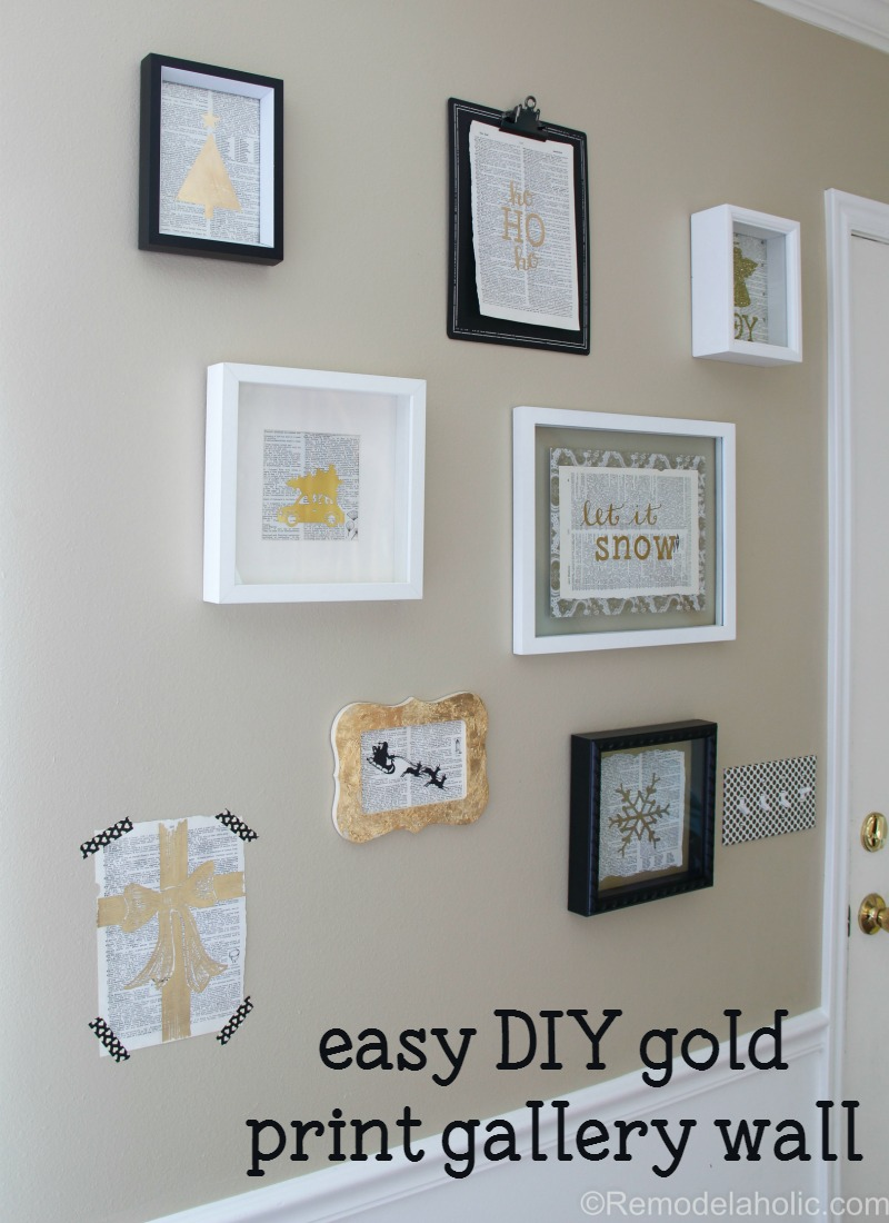 Gallery Wall Prints remodelaholic | 4 easy diy gold prints for a christmas gallery