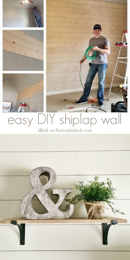 Remodelaholic | How to Install a Shiplap Wall + Rustic Home Office ...