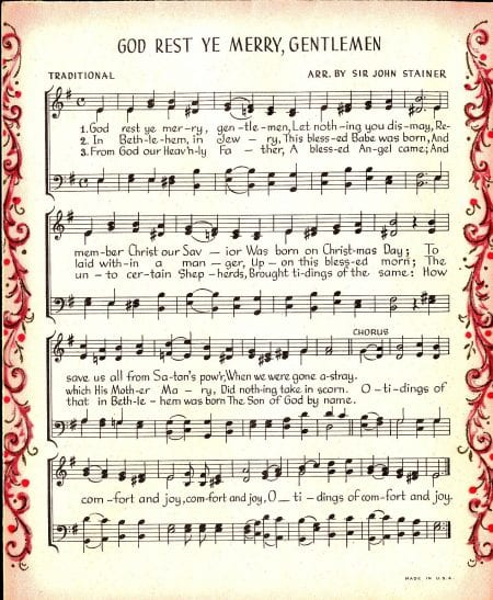 image about Free Printable Vintage Christmas Sheet Music named Printable Sheet New music For Crafts Each day Drive Rates