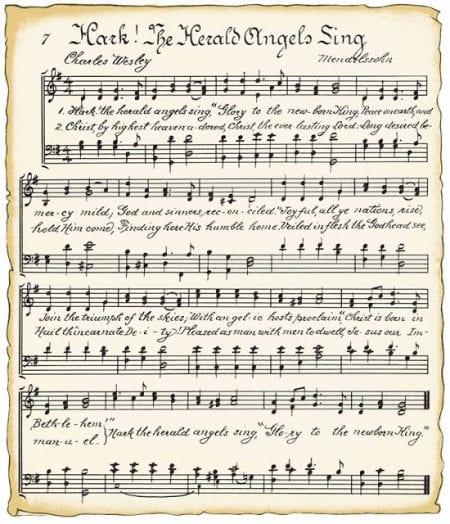 Hark! The Herald Angels Sing vintage Christmas printable