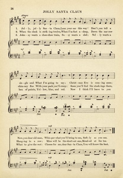Jolly Santa Claus printable vintage sheet music from the Old Design Shop