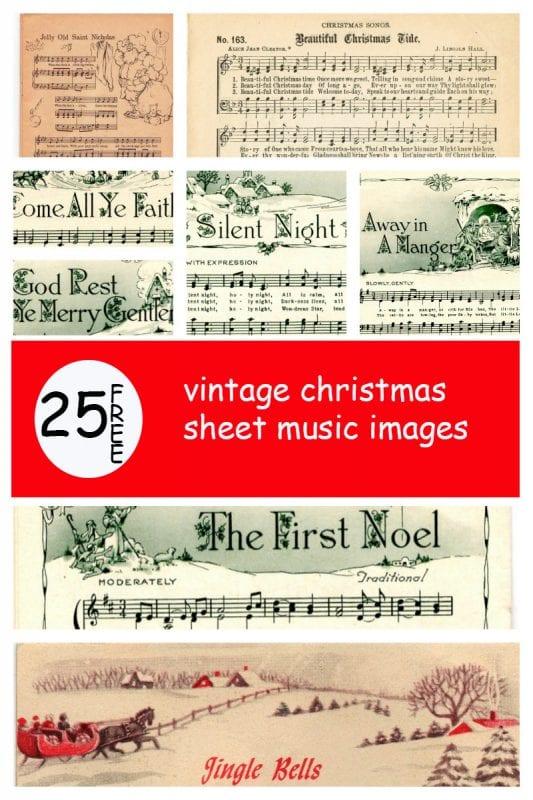 25 free vintage Christmas sheet music printables