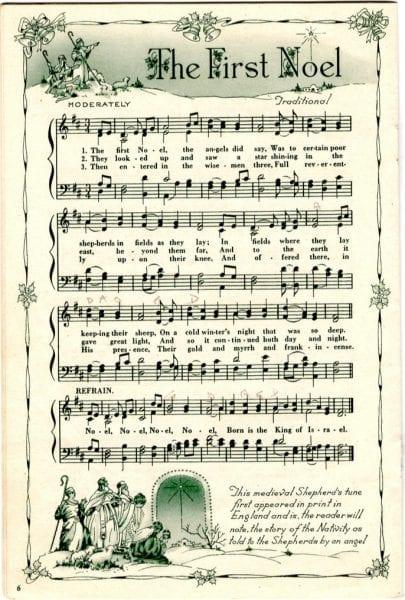 The First Noel, printable vintage sheet music