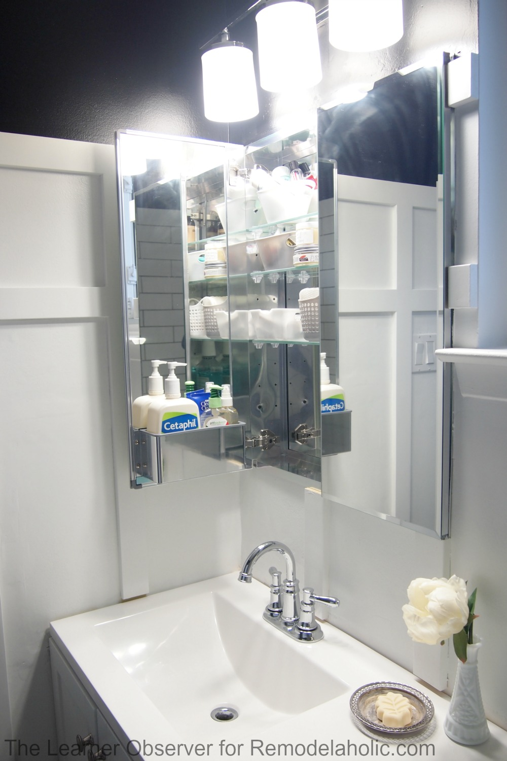 Remodelaholic how to install a recessed medicine cabinet - Built in medicine cabinets in bathroom ...