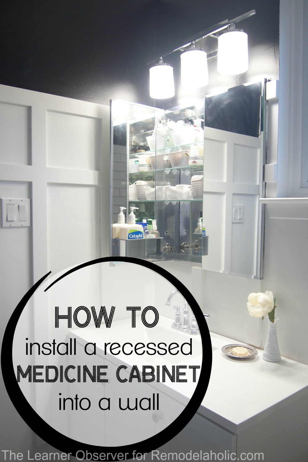 how to hang a bathroom cabinet on the wall remodelaholic how to install a recessed medicine cabinet 26493
