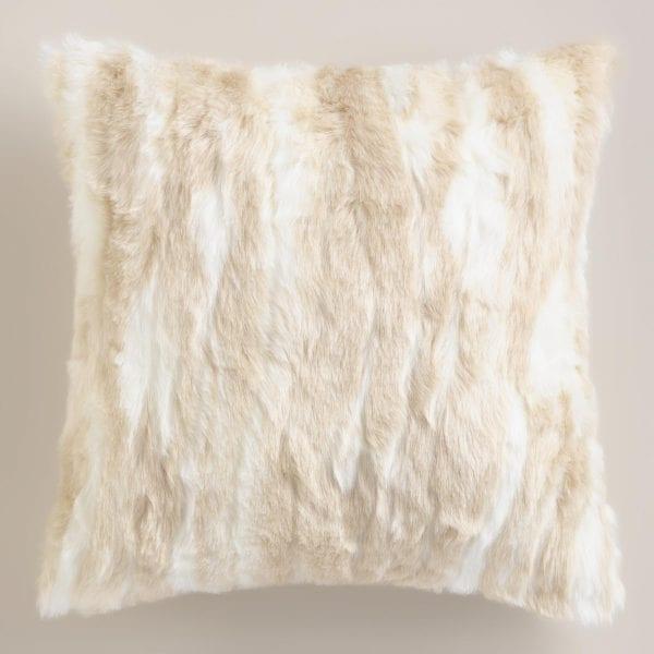 World Market Ivory Faux Fur Throw Pillow