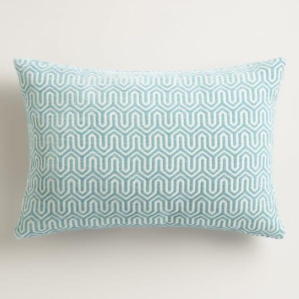 World market Ocean Blue Geo Chenille Lumbar Pillow