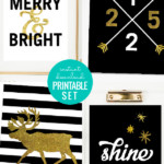 Black And Gold Christmas Gallery Wall Printable Art Set, Remodelaholic