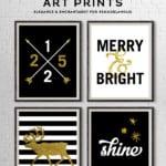 Black And Gold Christmas Art Printable Set, Elegance And Enchantment For Remodelaholic