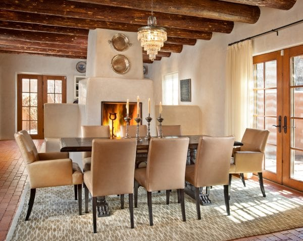 wood beams in a modern southwest dining room | by Violante & Rochford Interiors, photo credit © Wendy McEahern