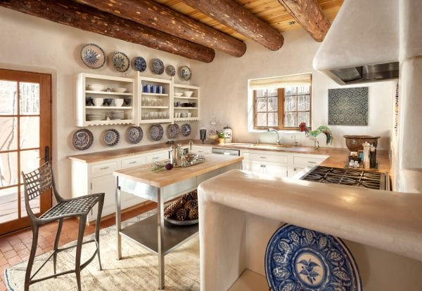 Updated kitchen with traditional southwestern wood beams | by Violante & Rochford Interiors, photo credit © Wendy McEahern