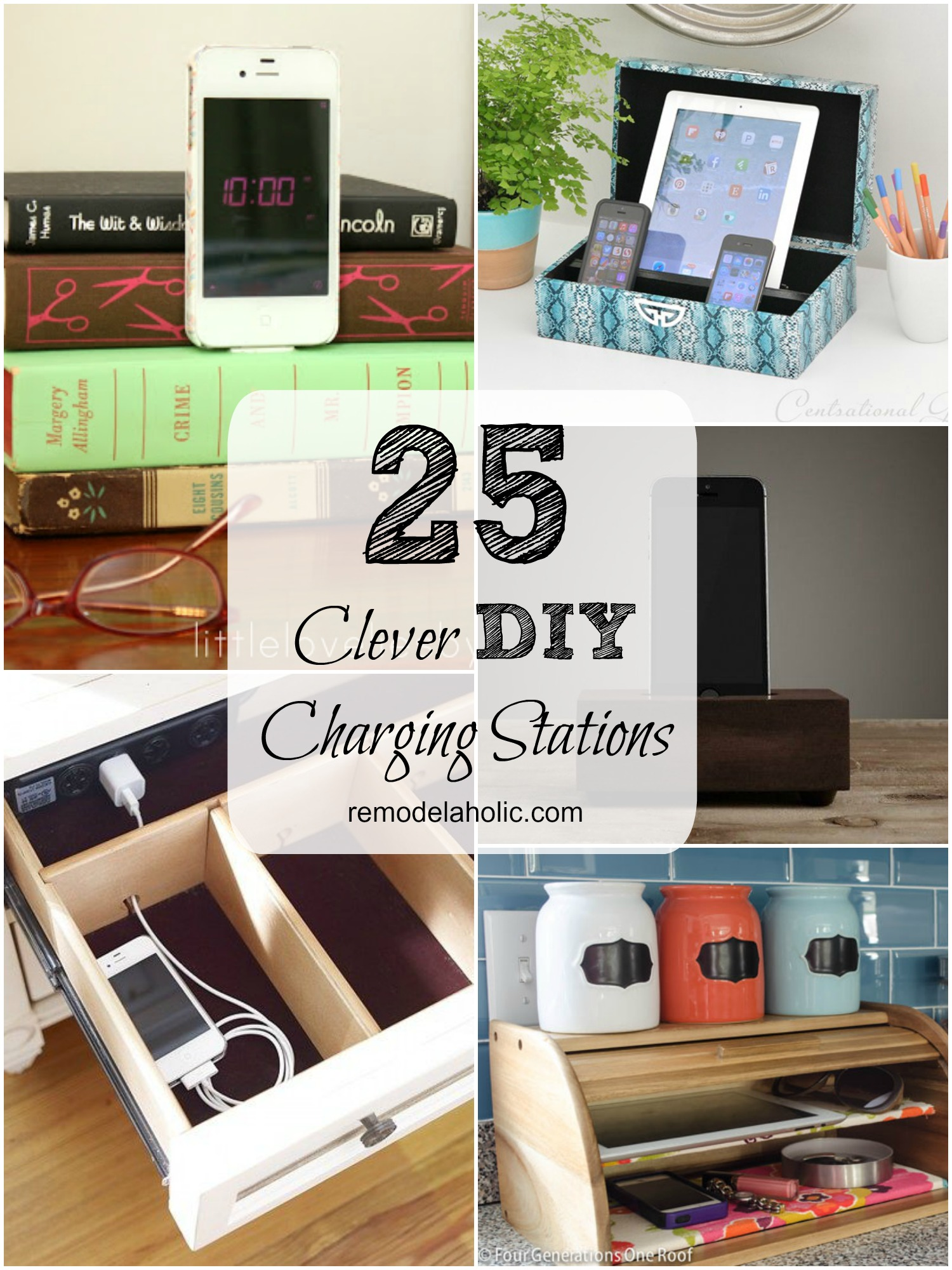 Family Charging Station remodelaholic | get rid of cord clutter with these 25 diy charging