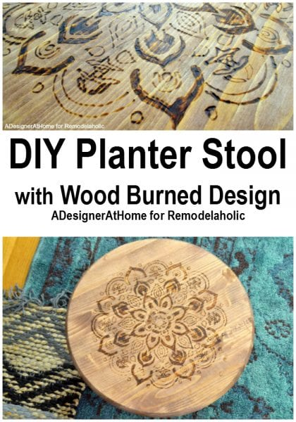 diy-raised-planter-stool-stand-wood-burned-mandala-design