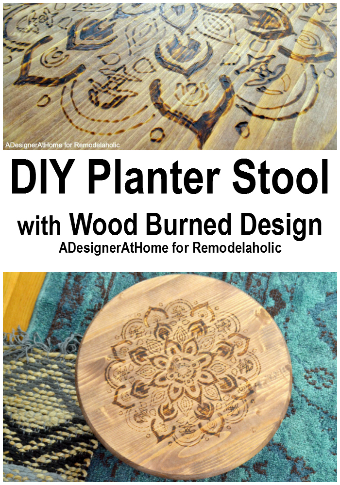 Make a statement with this easily customized wood-burned planter stool, which can also be used as a footrest. Use a stencil or another technique for a unique piece for your home.