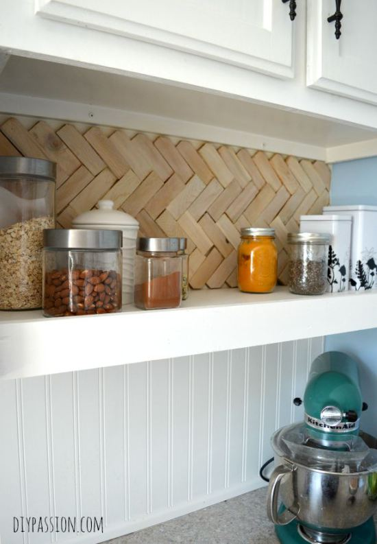 diy wood herringbone backsplash using wood shims DIY Passion