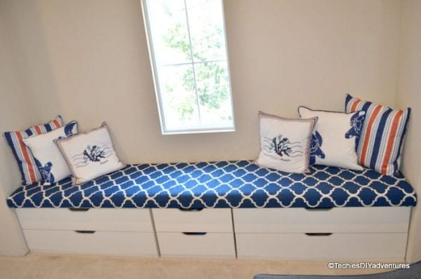 easy diy IKEA hack window seat with storage Techie's DIY Adventures