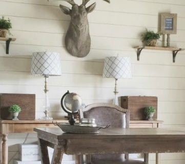 How to Install a Shiplap Wall + Rustic Home Office Makeover