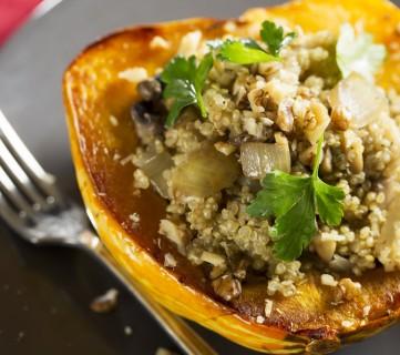 Quinoa and Pumpkin Seed Stuffed Acorn Squash