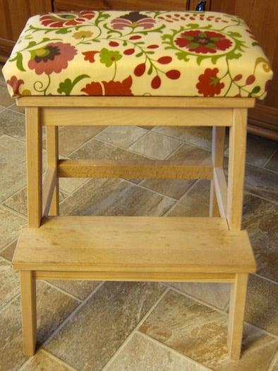 ikea bekvam stool hack, removable cushion to make a seat