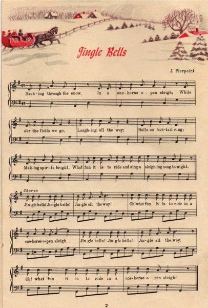 jingle bells carol sheet music, vintage