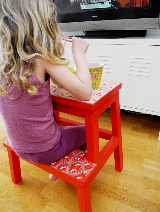 Instead Of Buying A Kid Table And Chair, Use The Bekvam Step Stool As A  Chair And Table Combo. Add Some Paint And Pretty Paper And Your Kid Will  Love It ...