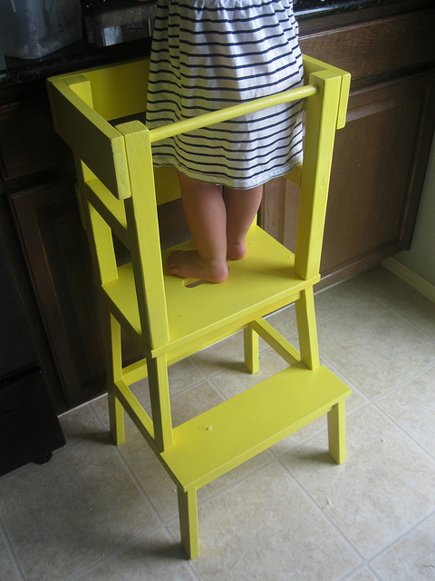 Learning Tower To Help Kids Safely In The Kitchen Ikea Hack Stool Bekvam