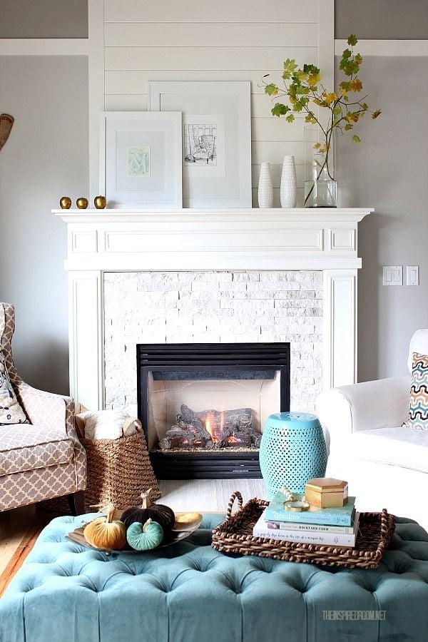 beautiful white mantel arrangement