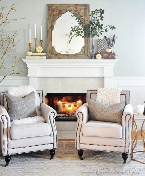 gorgeous mantel arrangement! Love the mirror