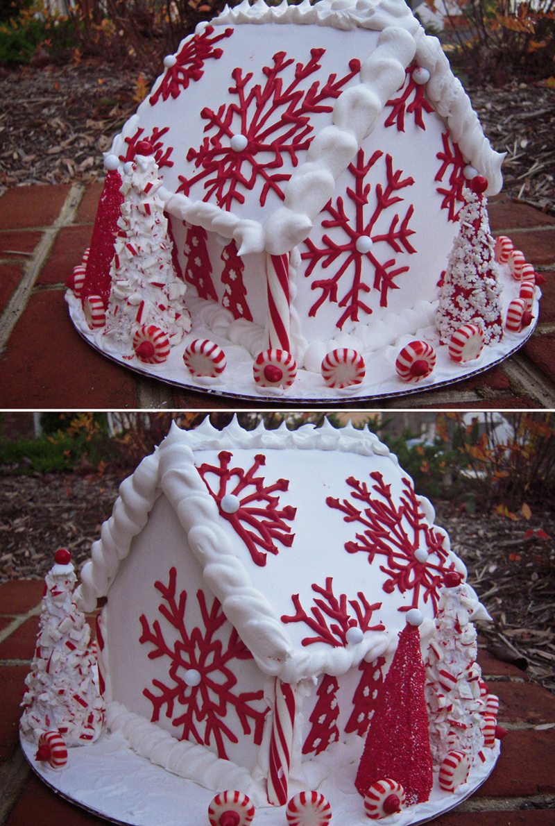 red and white inspiration for a non-traditional gingerbread house
