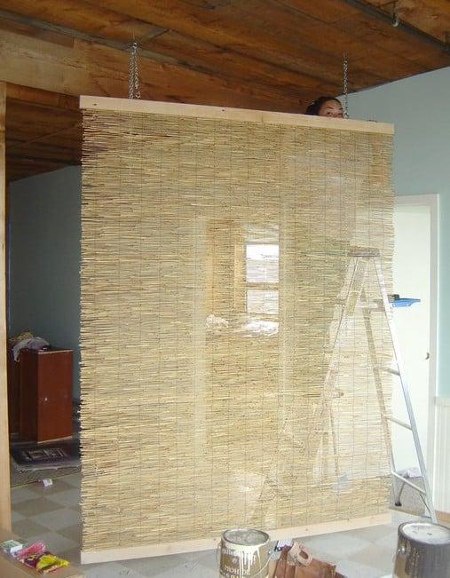 reed fencing diy room divider - Remodelaholic 29 Creative DIY Room Dividers For Open Space Plans