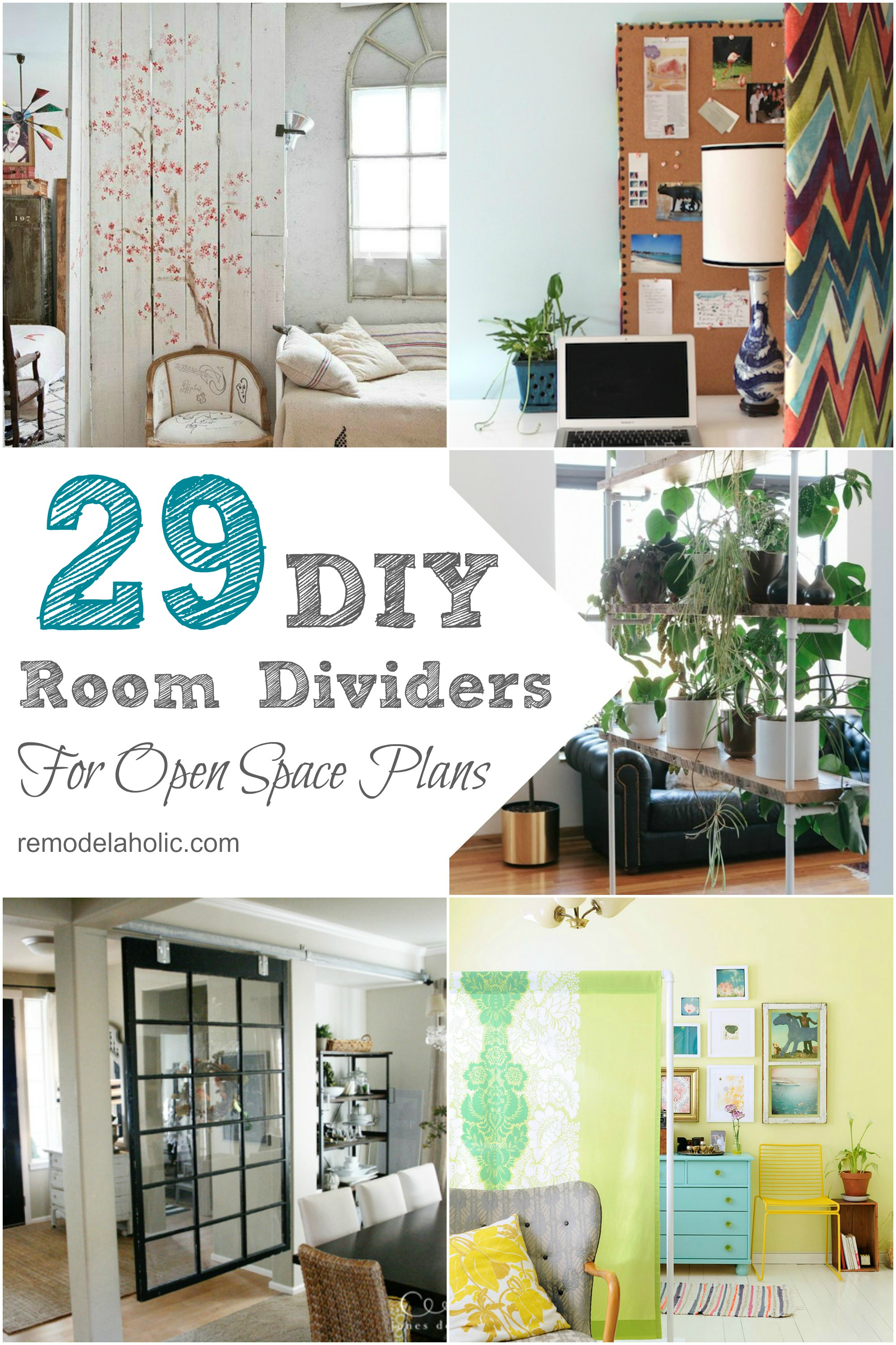 Remodelaholic 29 creative diy room dividers for open space plans Diy home design ideas living room software
