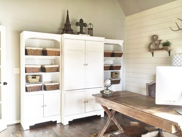 rustic home office storage hutch and desk, Jillify It on @Remodelaholic