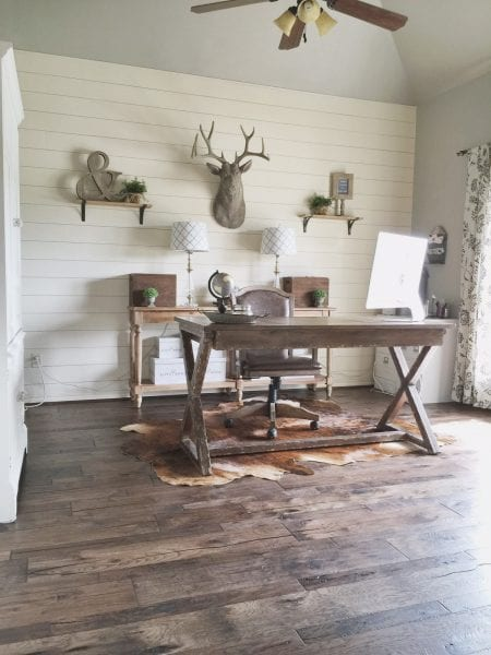 Inspirational rustic home office with DIY shiplap wall and beautiful hickory wood flooring Jillify It on