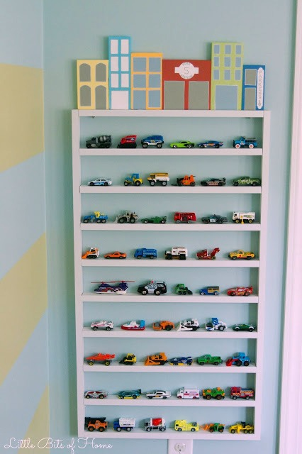 toy car storage shelf wall garage with wood block buildings Little Bits of HOme