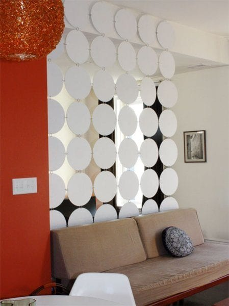 vinyl records covered with contact paper room divider - Remodelaholic 29 Creative DIY Room Dividers For Open Space Plans