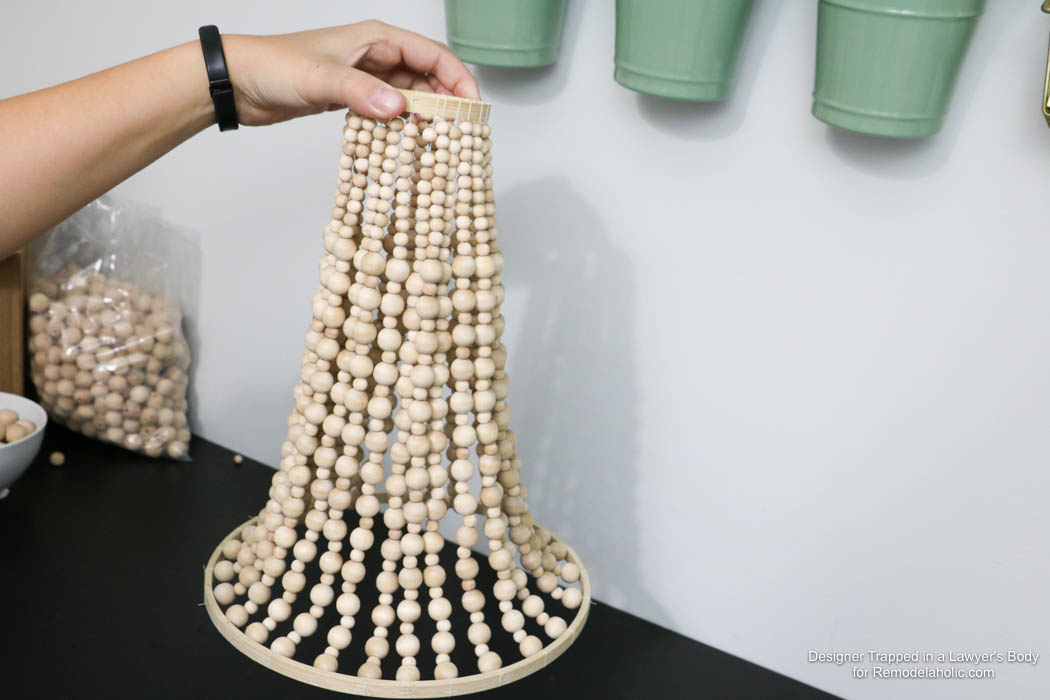 Beaded chandelier diy crafting remodelaholic how to make a wood bead chandelier aloadofball Image collections