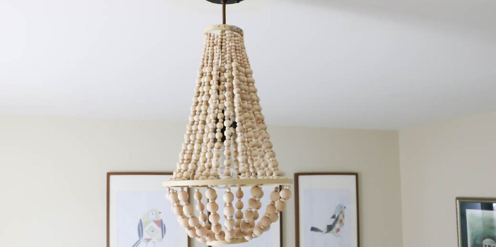 Remodelaholic how to make a wood bead chandelier aloadofball Images