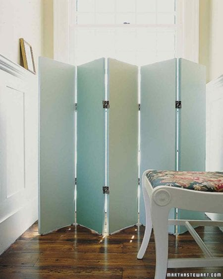 wood painted five panel room divider ombre
