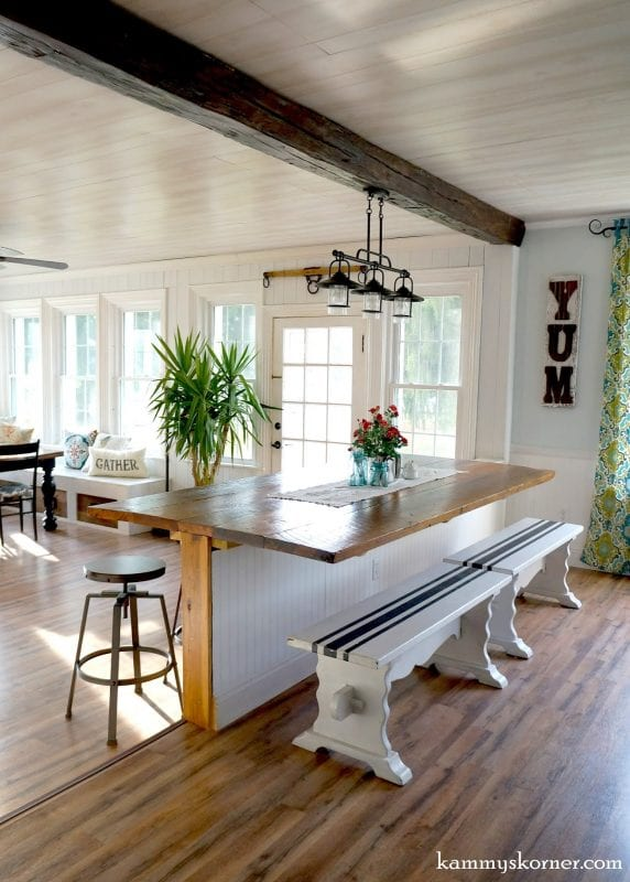 16 sunroom and dining room renovation built in table made of reclaimed wood - Sunroom Dining Room