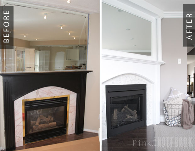 Remodelaholic | Beautiful Tiled Fireplace and Mantel Update