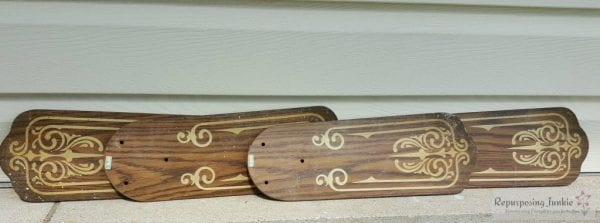 2 Old Ceiling fan blades upcycle, by Repurposing Junkie featured on @Remodelaholic