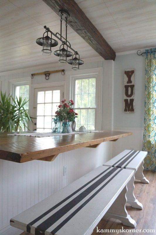 22 Breakfast bar from reclaimed wood, by Kammy's Korner featured on @Remodelaholic