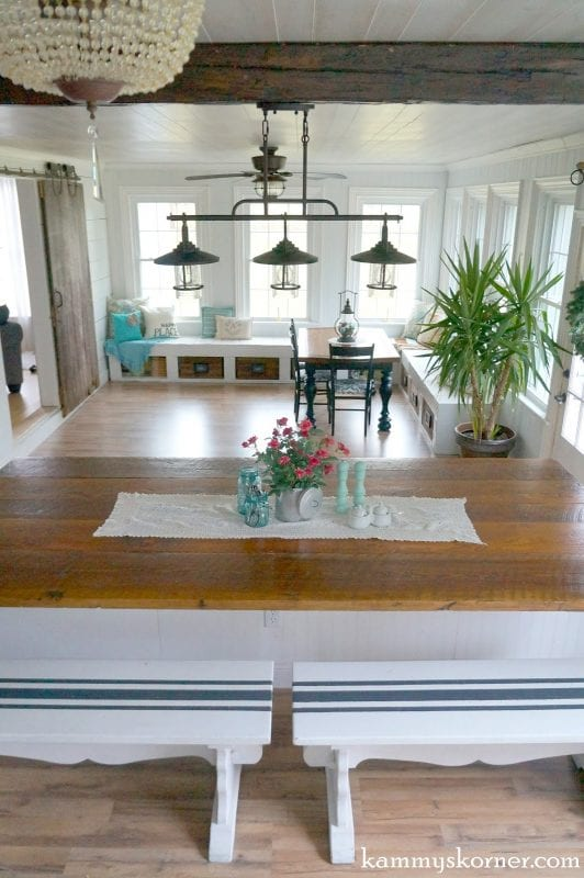 23 sunroom and dining room renovation built in table by kammys korner featured - Sunroom Dining Room