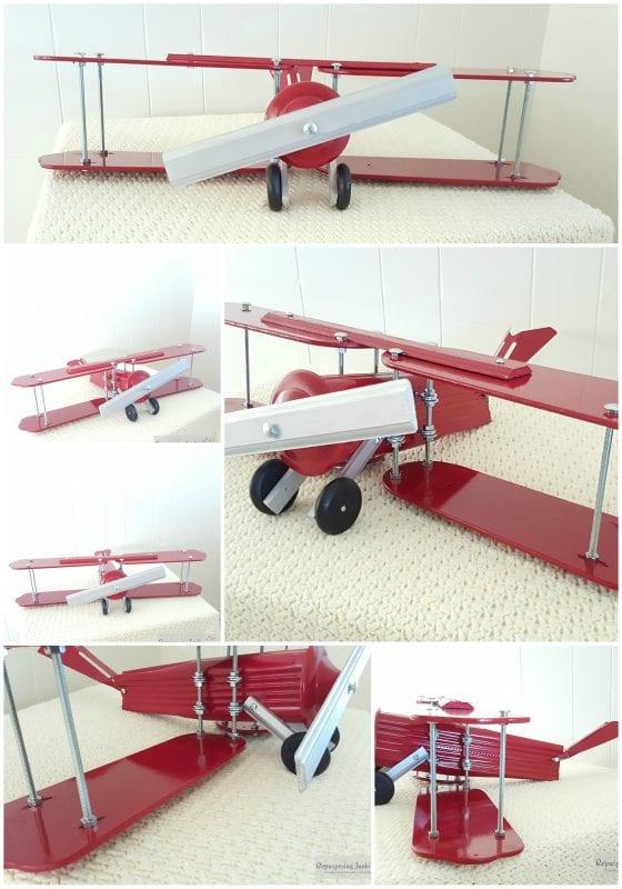 24 Repurposed ceiling fan blades made into decorative airplane, junker hobbies, by Repurposing Junkie featured on @Remodelaholic